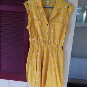 Yellow palm tree Mini Dress